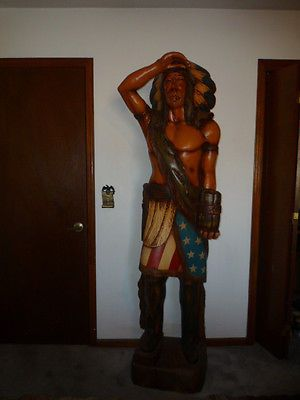 65 Foot Tall Unique Hand Carved Vintage Wooden Indian Statue