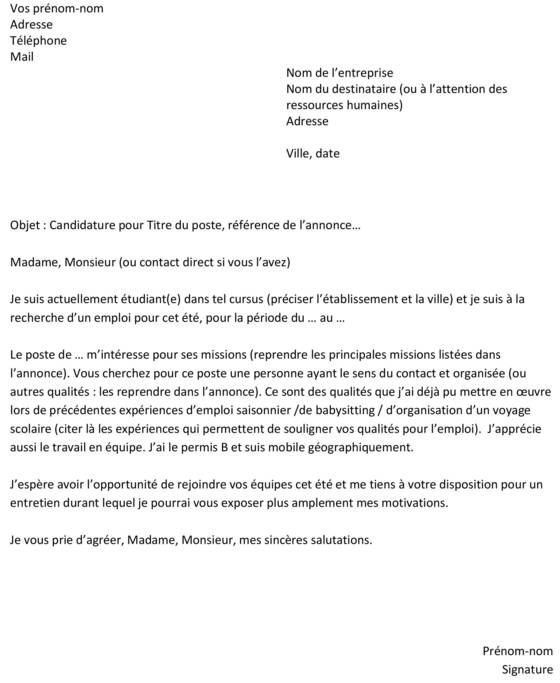 Image Result For Exemple De Lettre De Demande D Emploi Pdf Writing Swingers Clubs