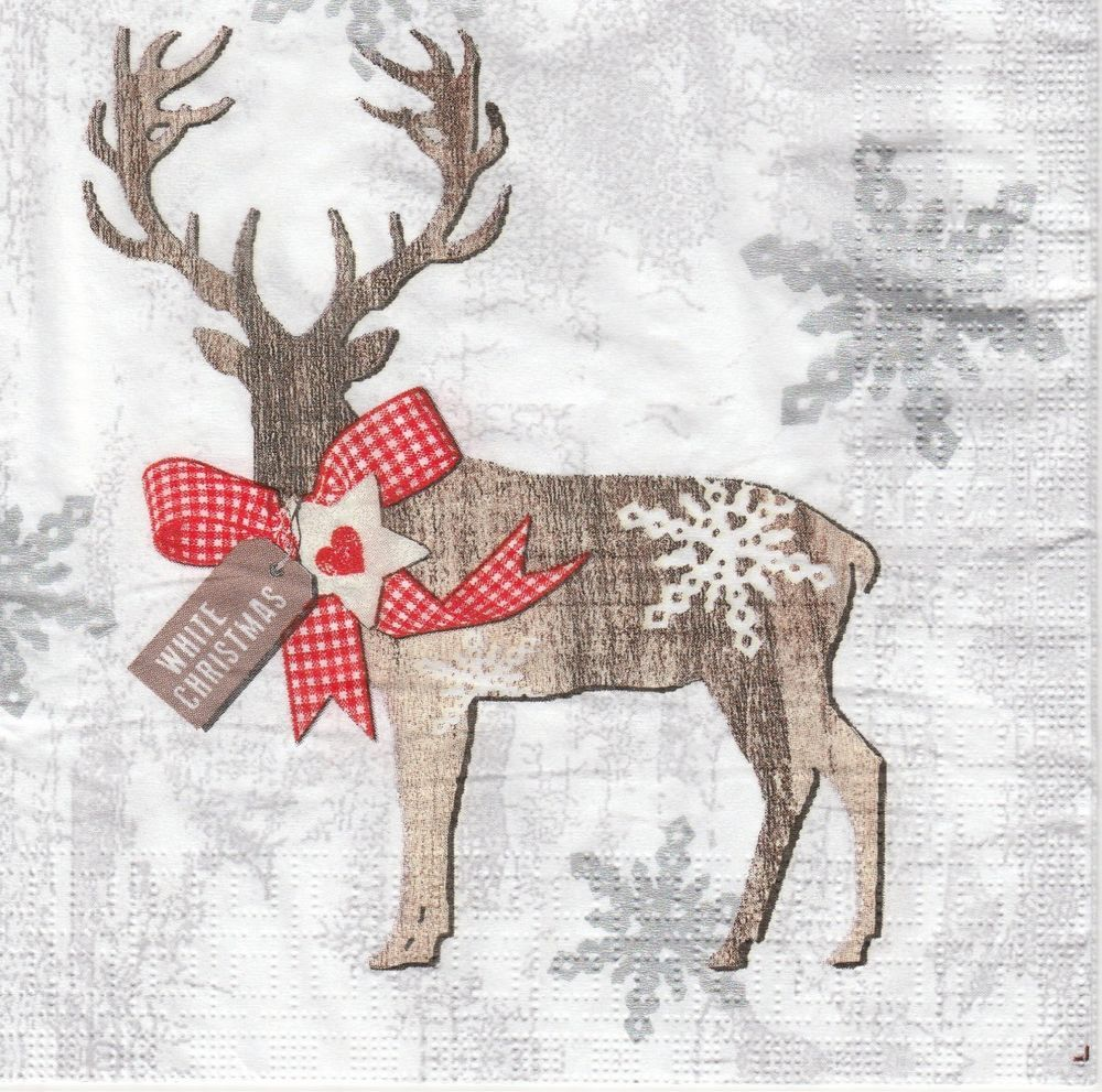 4 Single Table Party Paper Napkins for Decoupage Decopatch Craft Country X-Mas 4