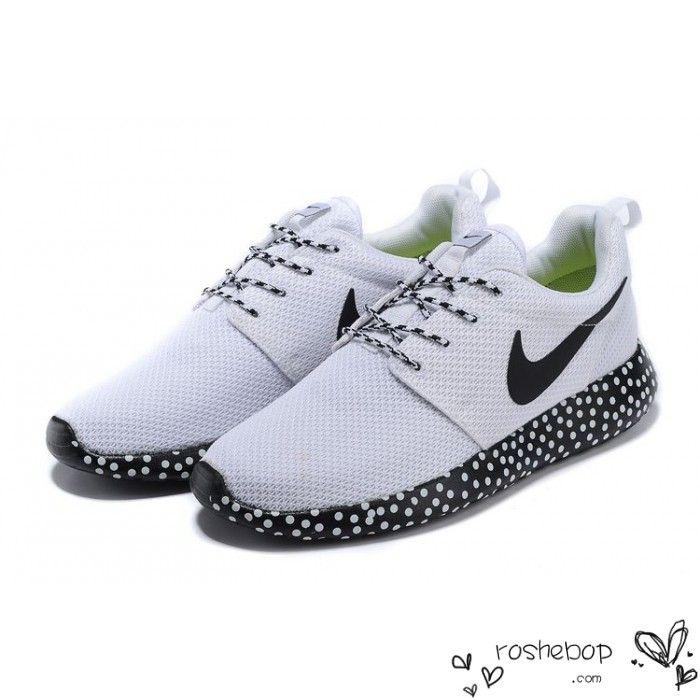 new arrival d45f7 b513e Nike Roshe Run Mesh Black White Polka Dot Sole Womens Mens Shoes