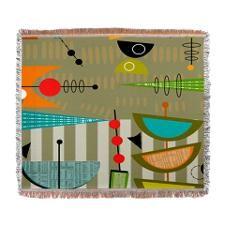 Mid-Century Modern Abstract Woven Blanket