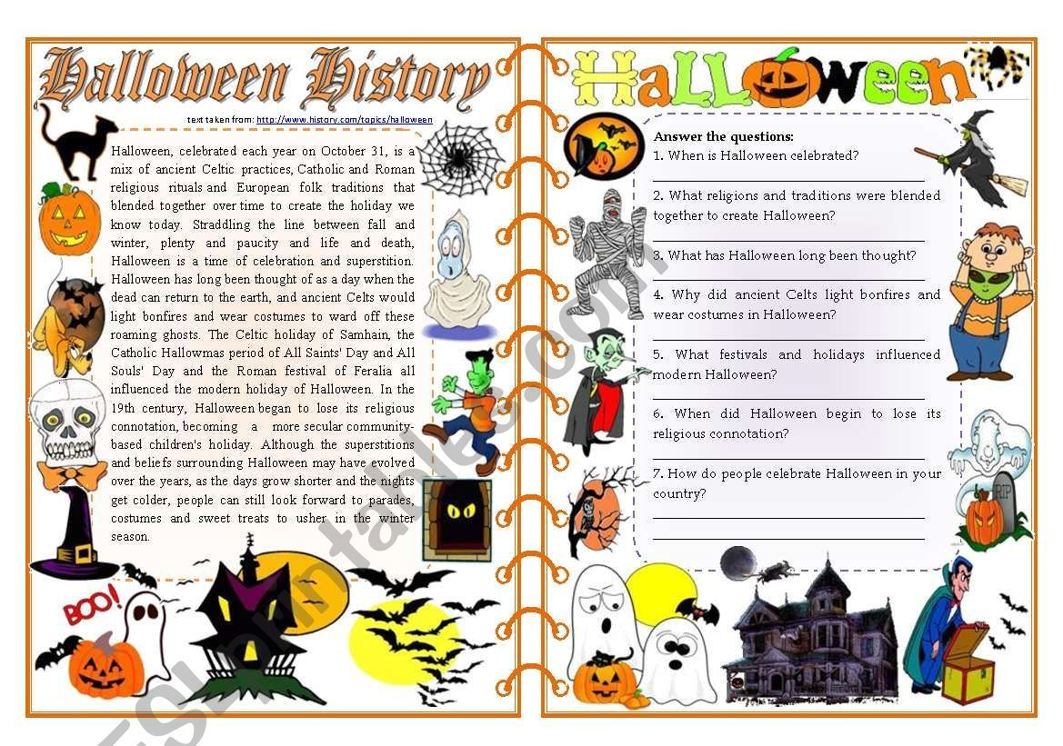 A Text Source Given With Reading Comprehension Vocabulary And Grammar Word F Halloween Grammar Activities Halloween Reading Halloween Reading Comprehension [ 821 x 1169 Pixel ]