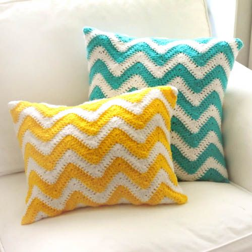 Free Crochet Patterns For Square Pillows : Crochet Pattern: Chevron Pillow Covers (Crochet Spot ...