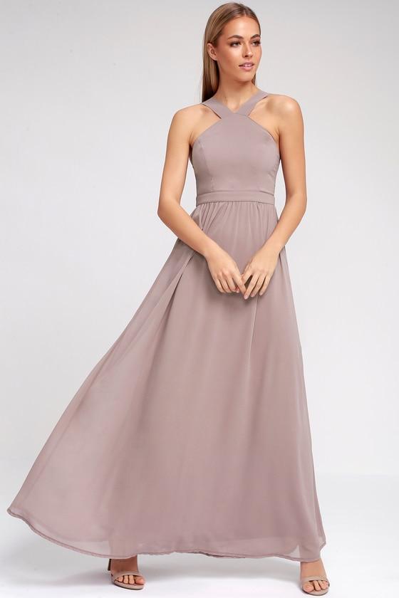 Air Of Romance Taupe Maxi Dress Taupe Maxi Dress Purple Maxi Dress Beige Bridesmaid Dress