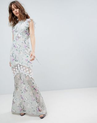 Hope & Ivy Fluted Sleeve Maxi Dress with Velvet Trim - Pink floral Hope & Ivy YoFPb