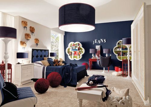 Light Fixture And Dark Navy Wall With And Navy Drum Shade Light For Teen Boys Bedroom