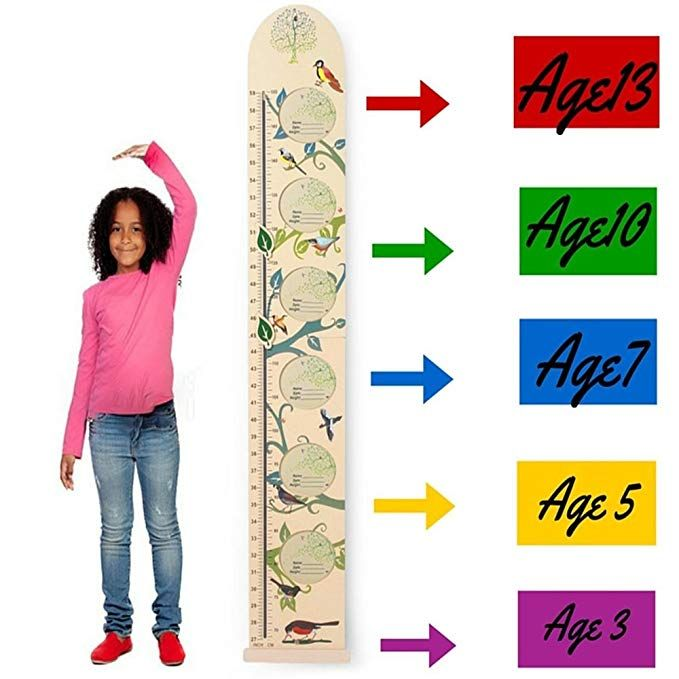 Kids Wall Wooden Growth Height Chart- Hanging Ruler For