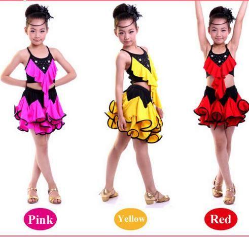 Pas cher 4 couleurs robe de danse latine pour les filles rose salsa robes jaune paillettes tango - Robe de danse de salon pas cher ...