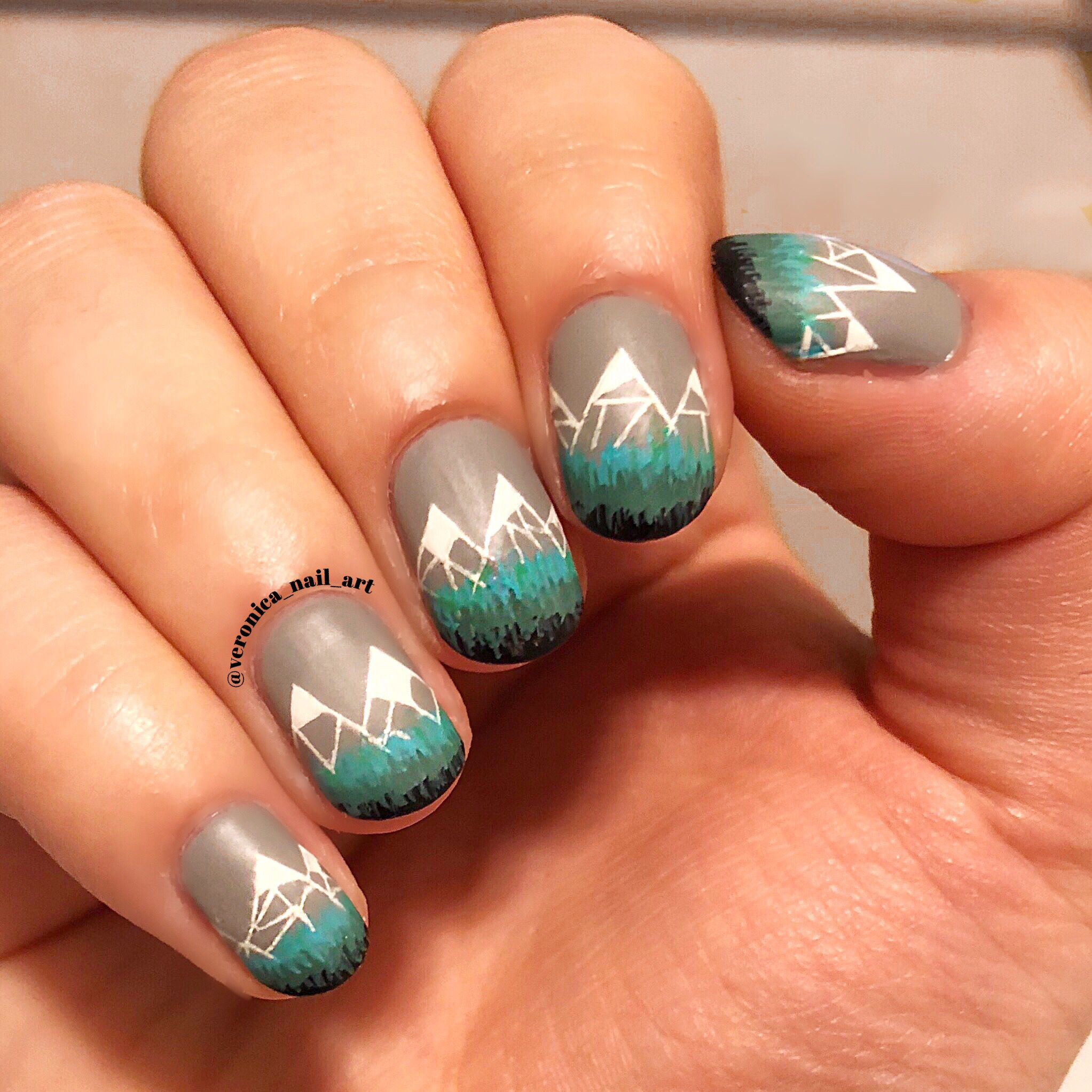 Abstract Mountain Nail Art Nail Art Pinterest