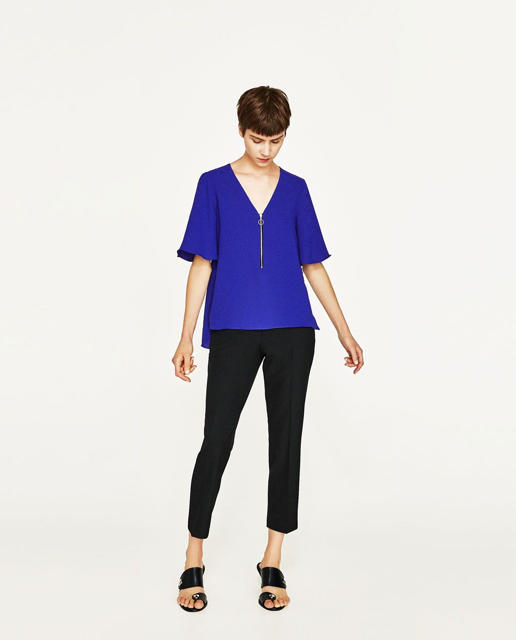 Image 1 Of V Neck Blouse With Zip From Zara Camisas Camisas Mujer Zara Ropa