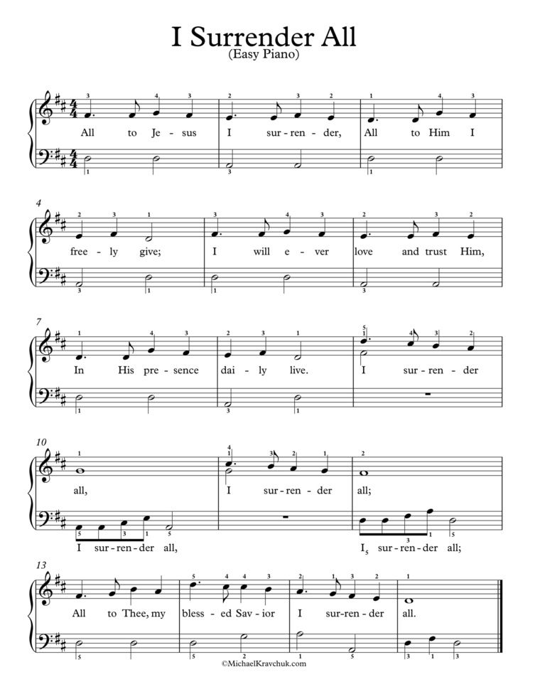 Free Piano Arrangement I Surrender All Easy Sheet Music