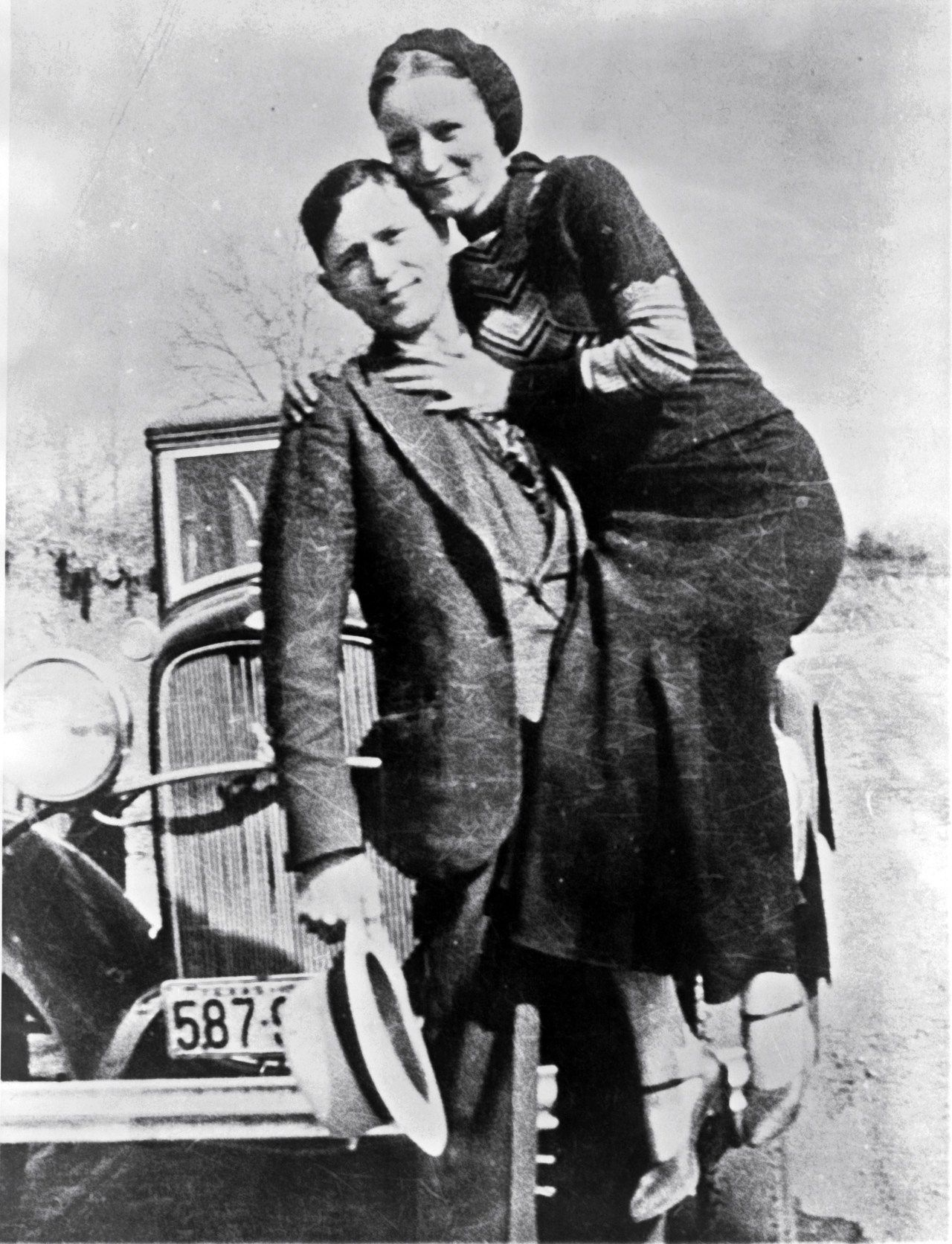 Bonnie and Clyde in March 1933, in a photo found by police at the Joplin, Missouri hideout.