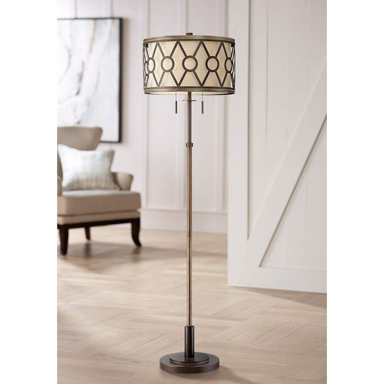 Destry 2 Light Floor Lamp With Faux Wood And Bronze Finish