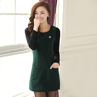 The New Classic Round Collar Cultivate One's Morality Show Thin Knitting Dress Long-Sleeved Aristocratic Temperament Cloth