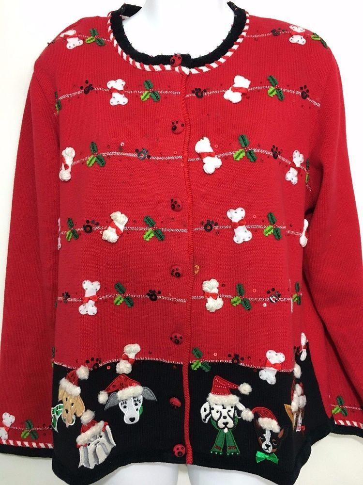 Berek Womens XL Red Cardigan Ugly Christmas Sweater Dogs Santa ...