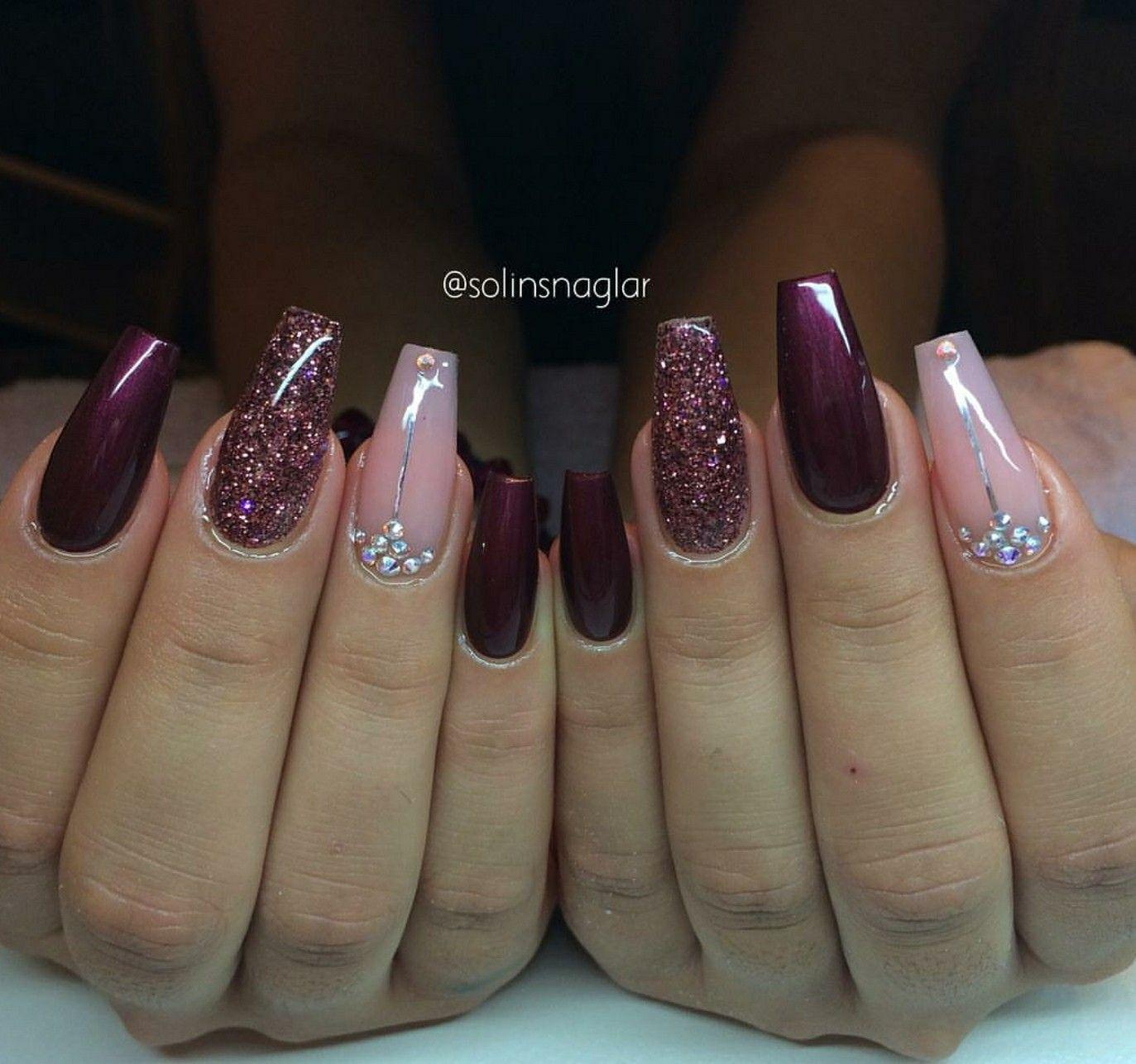 Ballerina Nails Pink And Burgundy Nails Burgundy Glitter Nails Nails With Rhinestones Acrylic Nails Burgundy Acrylic Nails Burgundy Nails Ballerina Nails