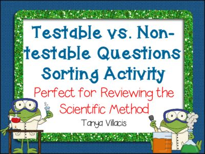Testable+Questions+vs.+Non-Testable+Questions+Sorting+Activity+SCIENTIFIC+METHOD+from+A+Class+Act+on+TeachersNotebook.com+-++(5+pages)++-+This+purchase+contains+2+headers+for+testable+questions+and+non-testable+questions.+There+are+24+question+examples+that+students+can+sort+under+the+proper+headers.+Perfect+for+small+group+instruction!
