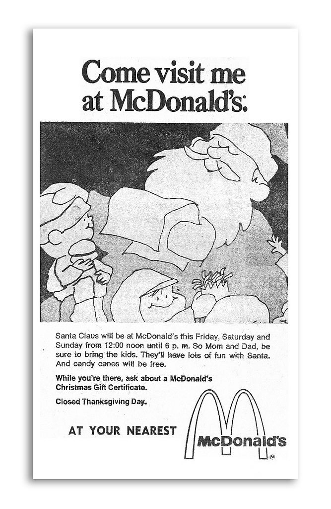 1971 mcdonald's santa christmas newspaper ad | all about mcdonalds ...