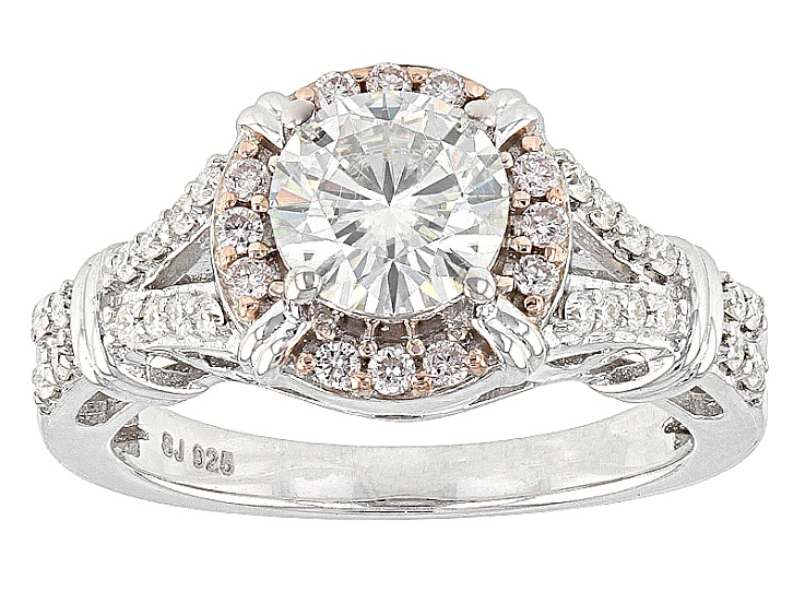 Pre Owned Moissanite And Pink Diamond Ring Platineve Prh875 Pink Diamond Ring Pink Diamond Moissanite Jewelry