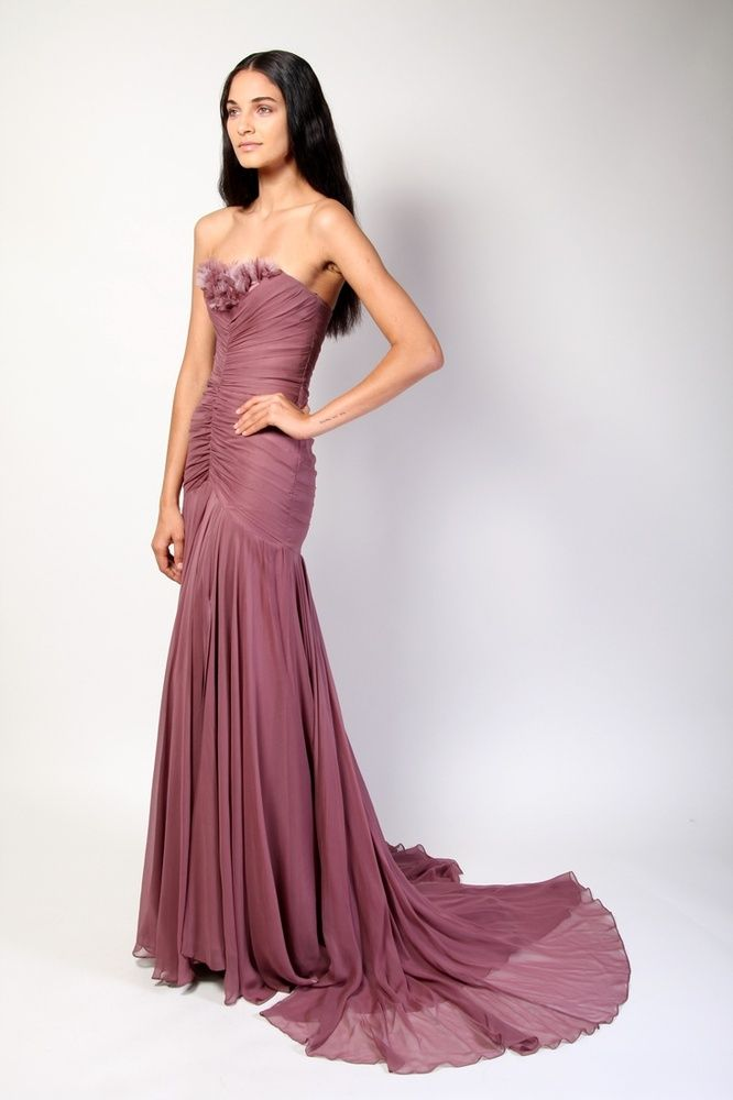 Christian Siriano Silk Chiffon Strapless Gown with Petal Bust...