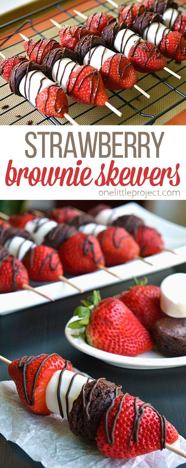 Strawberry Brownie Skewers