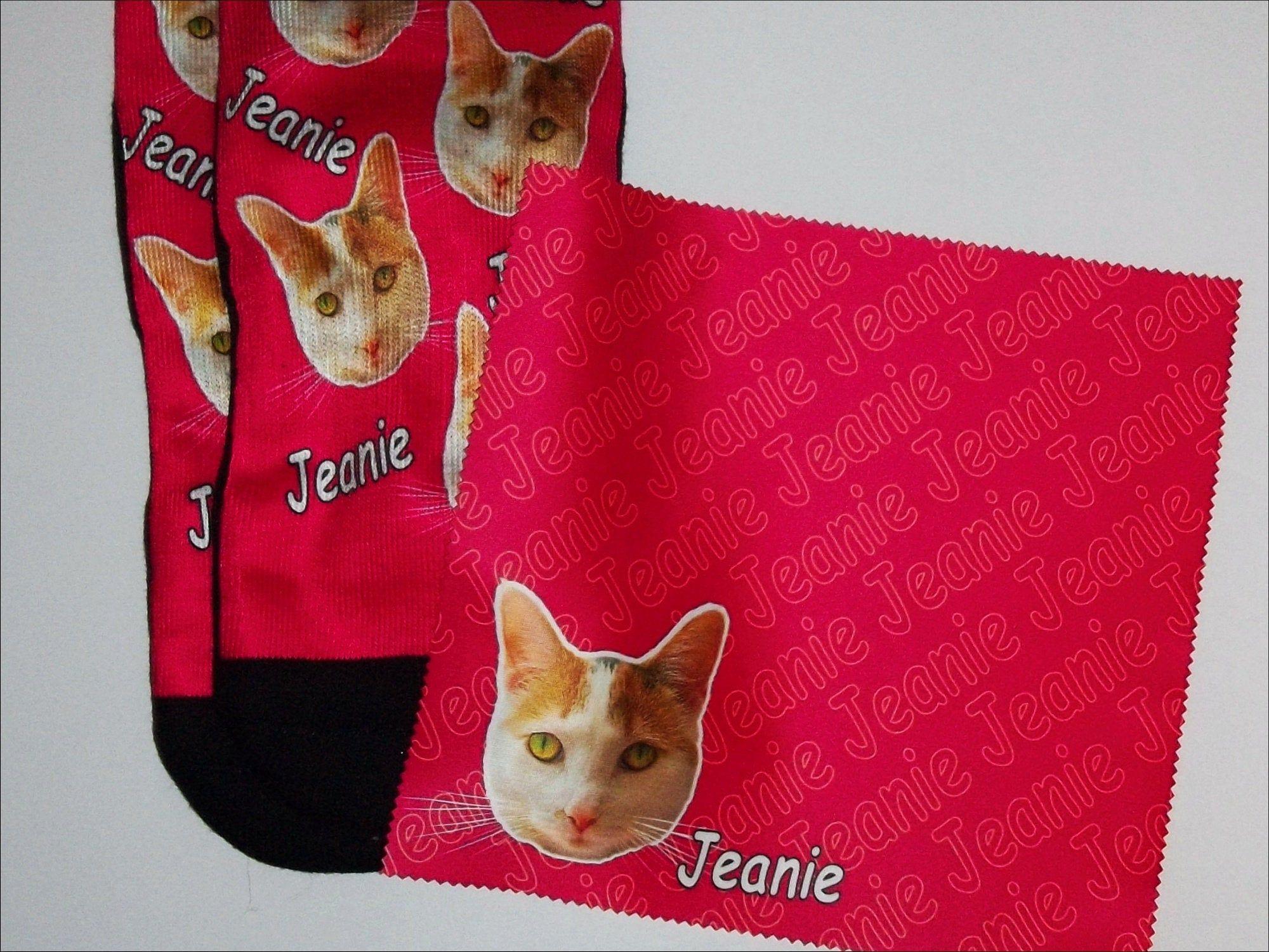 Custom socks CAT DOG PETS photo socks shipped with Etsy