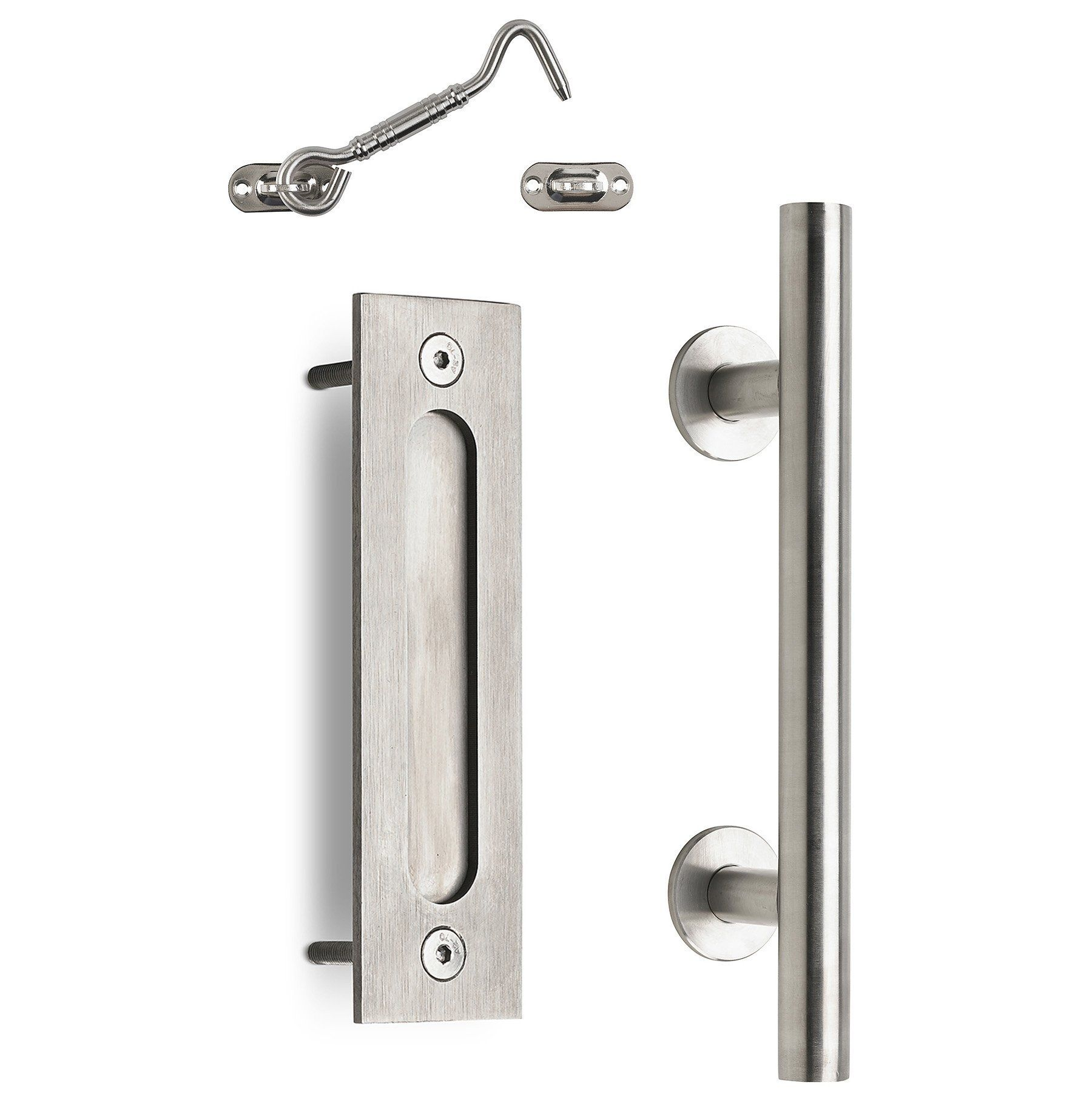 Mjc Company S Stainless Steel Sliding Barn Door Handle Pull Flush Combo Privacy Latch Coordinates Seamlessly Barn Door Handles Barn Door Latch Door Handles