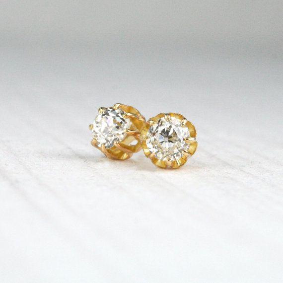 e713b00038bc6 ON HOLD - Old Mine Cut Diamond Studs - Antique 9K Yellow Gold ...