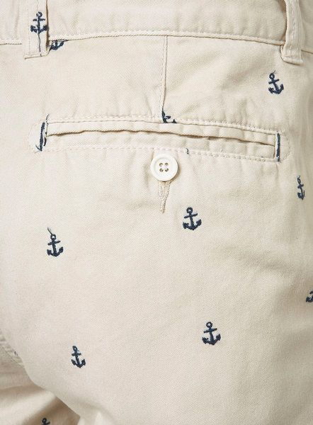 2559d5b5 Topman Cream Anchor Embroidery Shorts in Beige for Men (cream) - Lyst