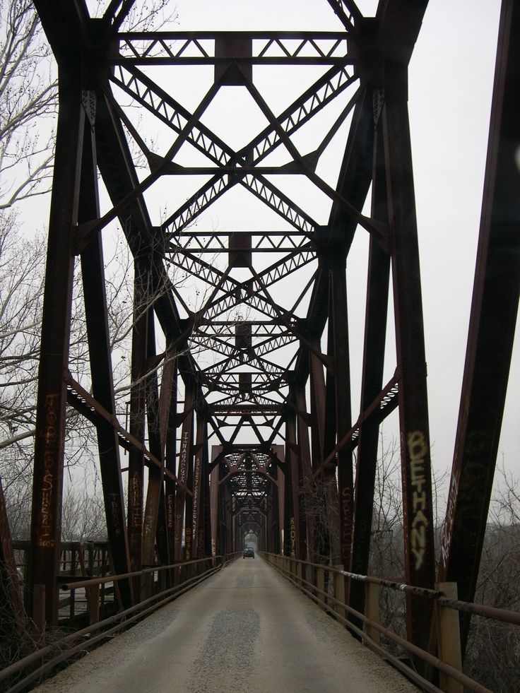 This is Carpenters Bluff Bridge that goes across the Red River into Oklahoma.: