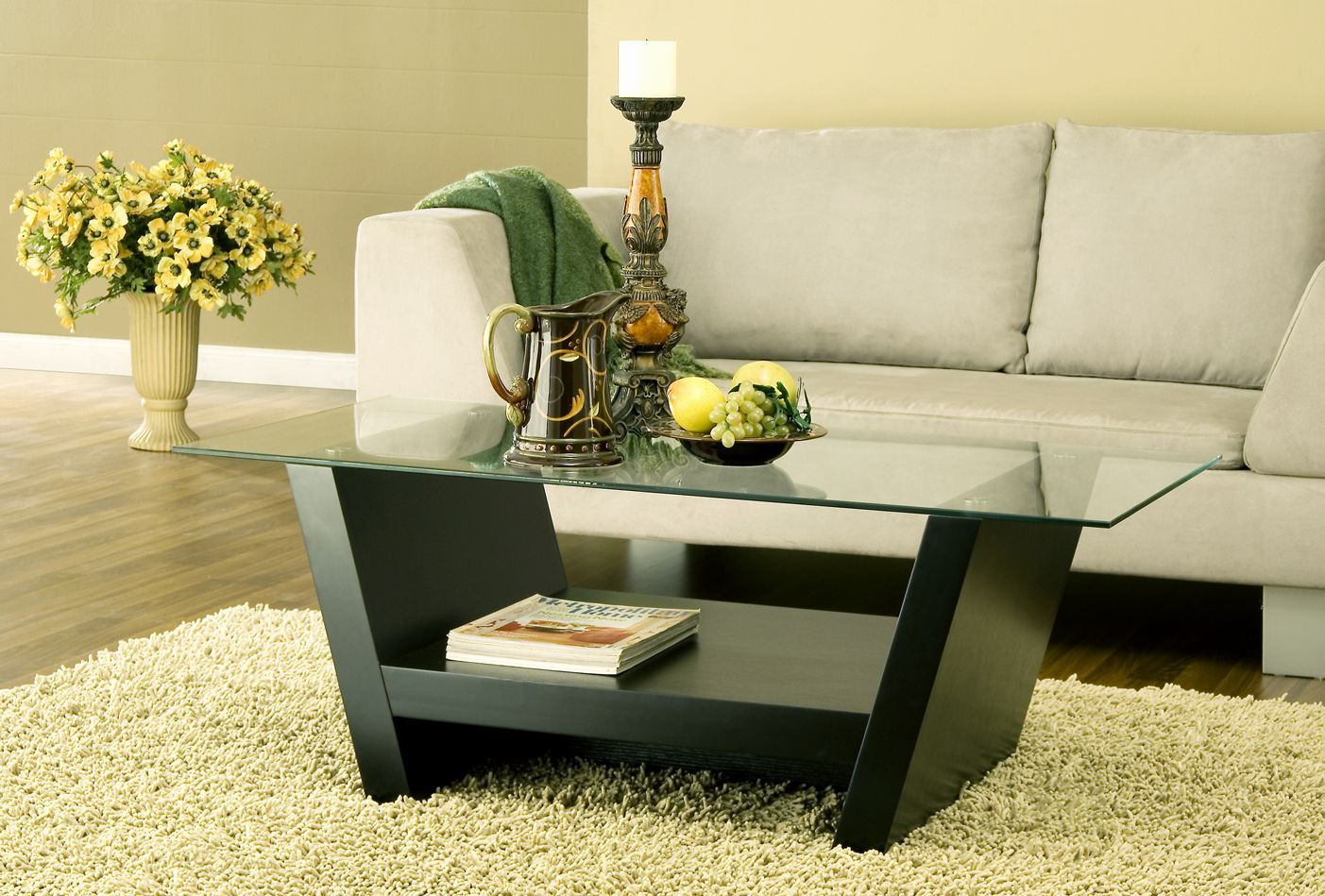 28220ct Smart Home Glass Top Coffee Table Features A Contemporary