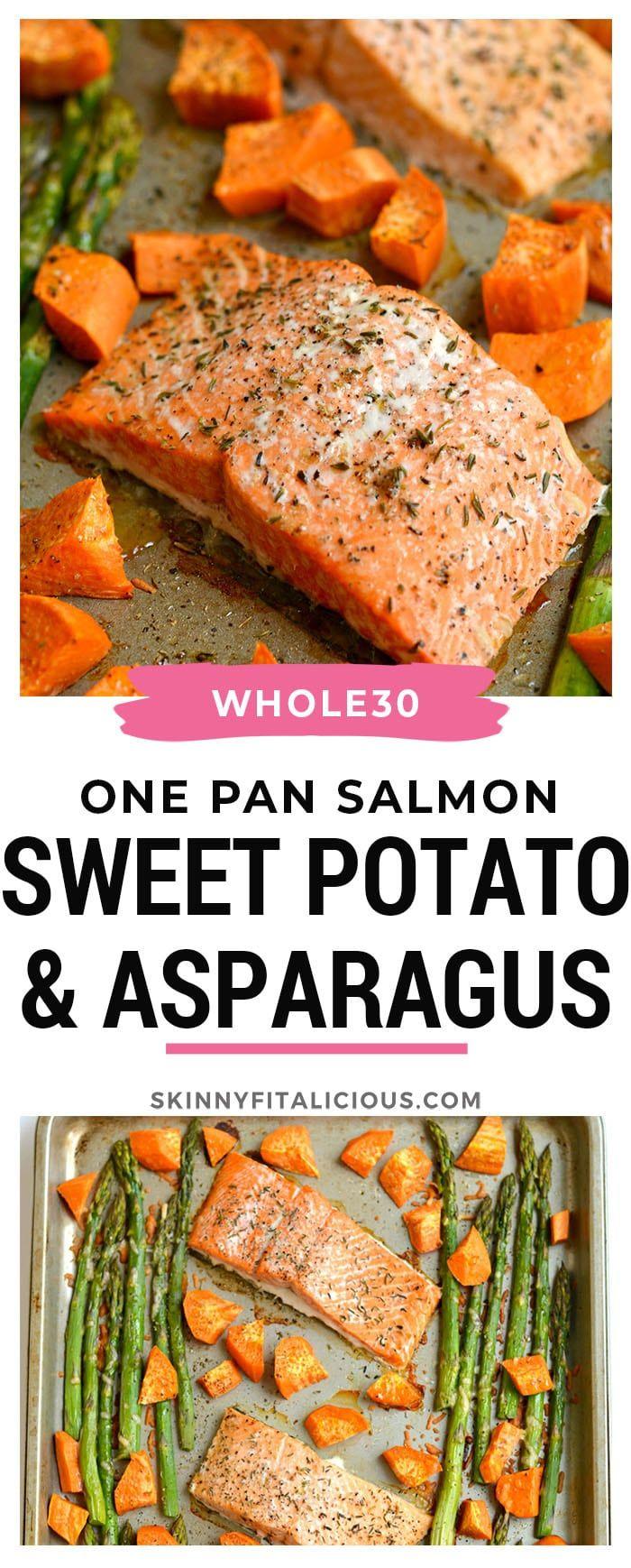One Pan Baked Salmon Asparagus Sweet Potato - Skinny Fitalicious #salmonrecipes