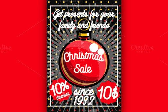 Color vintage Christmas sale poster Poster Templates $500 - for sale poster template