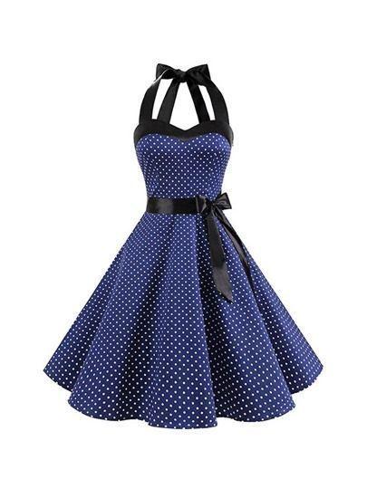 Damen Neckholder Vintage Rockabilly Kleider Faltenrock 25 ...