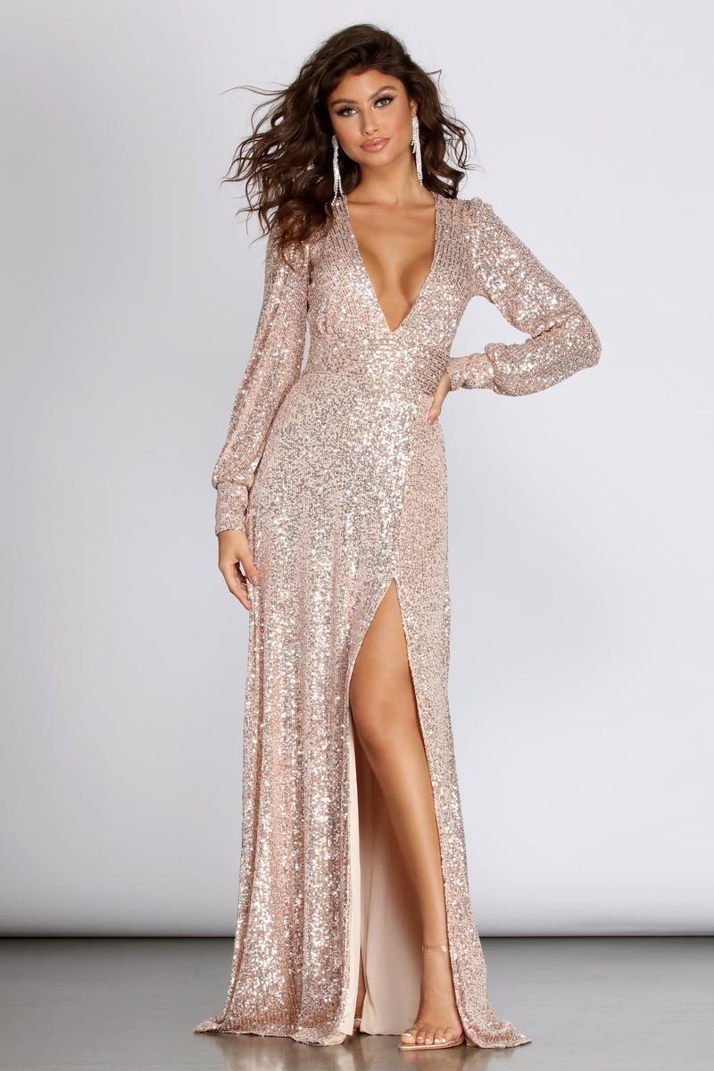 Lucille Formal Long Sleeve Sequin Dress | Sequin dress, Long