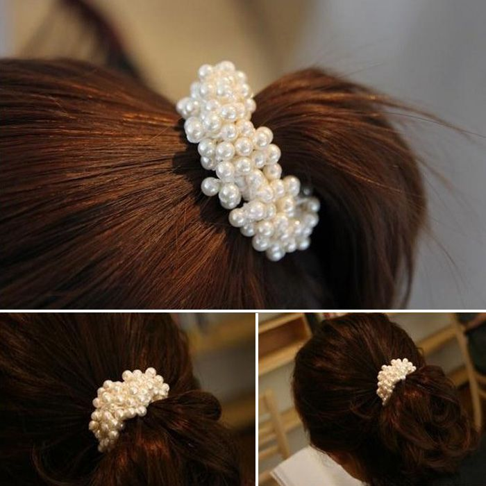 Beauty Girl 1 UNID Moda Encantadora Coreana Mujeres Perlas perlas de la Venda Del Pelo Cuerda Scrunchie Ponytail Nov.11