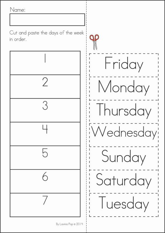 Summer Review – Days of the Week Kindergarten Worksheets