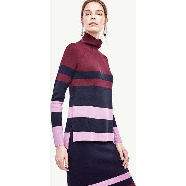 Ann Taylor Colorblock Mock Neck Tunic Sweater ($90) ❤ liked on ...