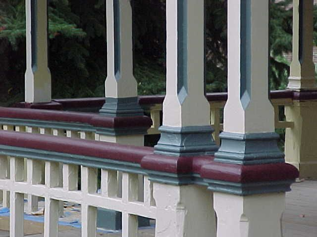 Queen anne dollhouse paint colors historic colors for Arts and crafts porch columns