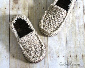 Crochet Pattern for Mens House Shoes the Lazy by TwoGirlsPatterns