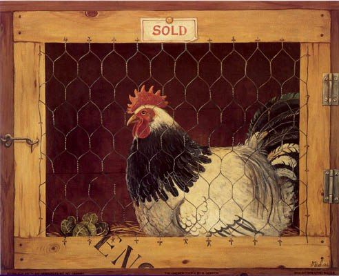 Wyandotte Hens Chickens Poultry Country Chic Shabby Wood Kitchen Picture Plaque