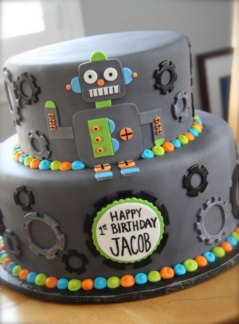 Sensational How To Make A Rainbow Birthday Cake With Images Robot Cake Personalised Birthday Cards Epsylily Jamesorg