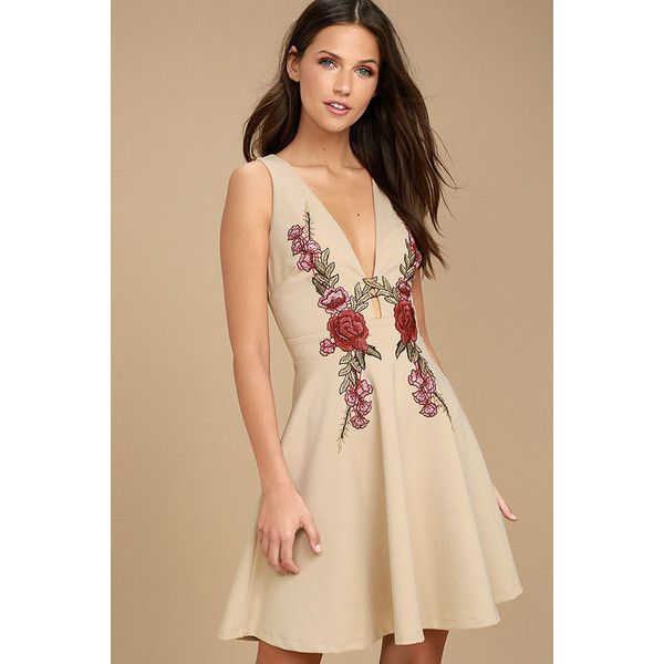 Romantic Rose Beige Embroidered Skater Dress ($59) Liked