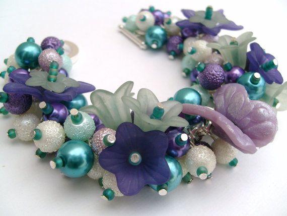 Pearl Beaded Fashion Bracelet Cluster Bracelet Purple by KIMMSMITH, $20.00