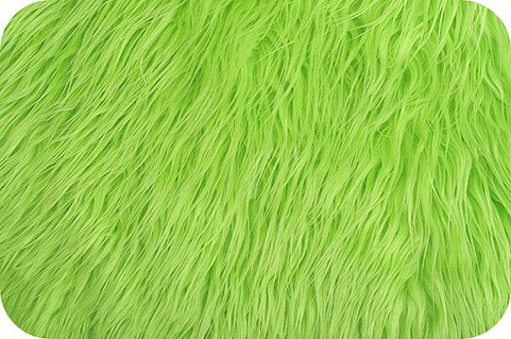 Mongolian Faux Fur Fabric Lime 1 Yard by ShadesofGloryFabrics, $21.99