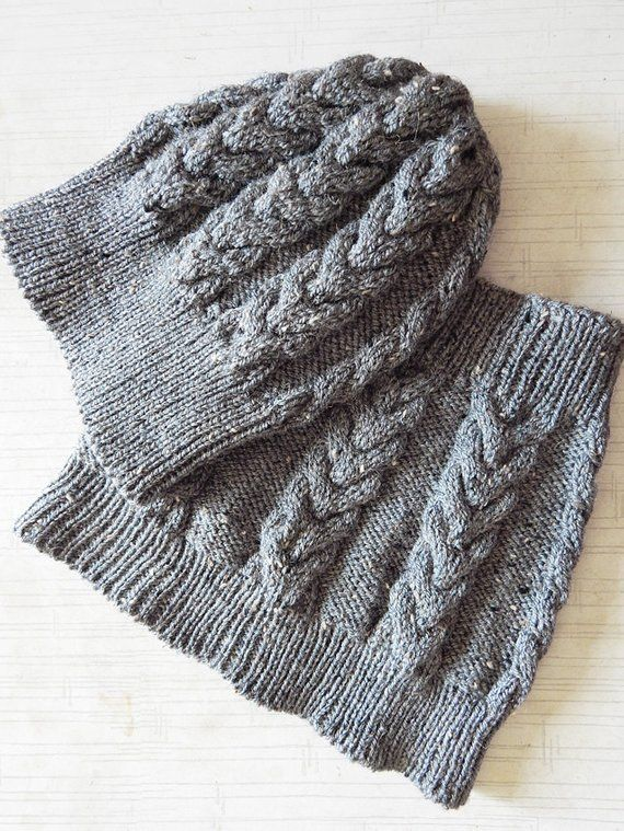 c2788f82ae8 Knitted grey woman aran hat and cowl set