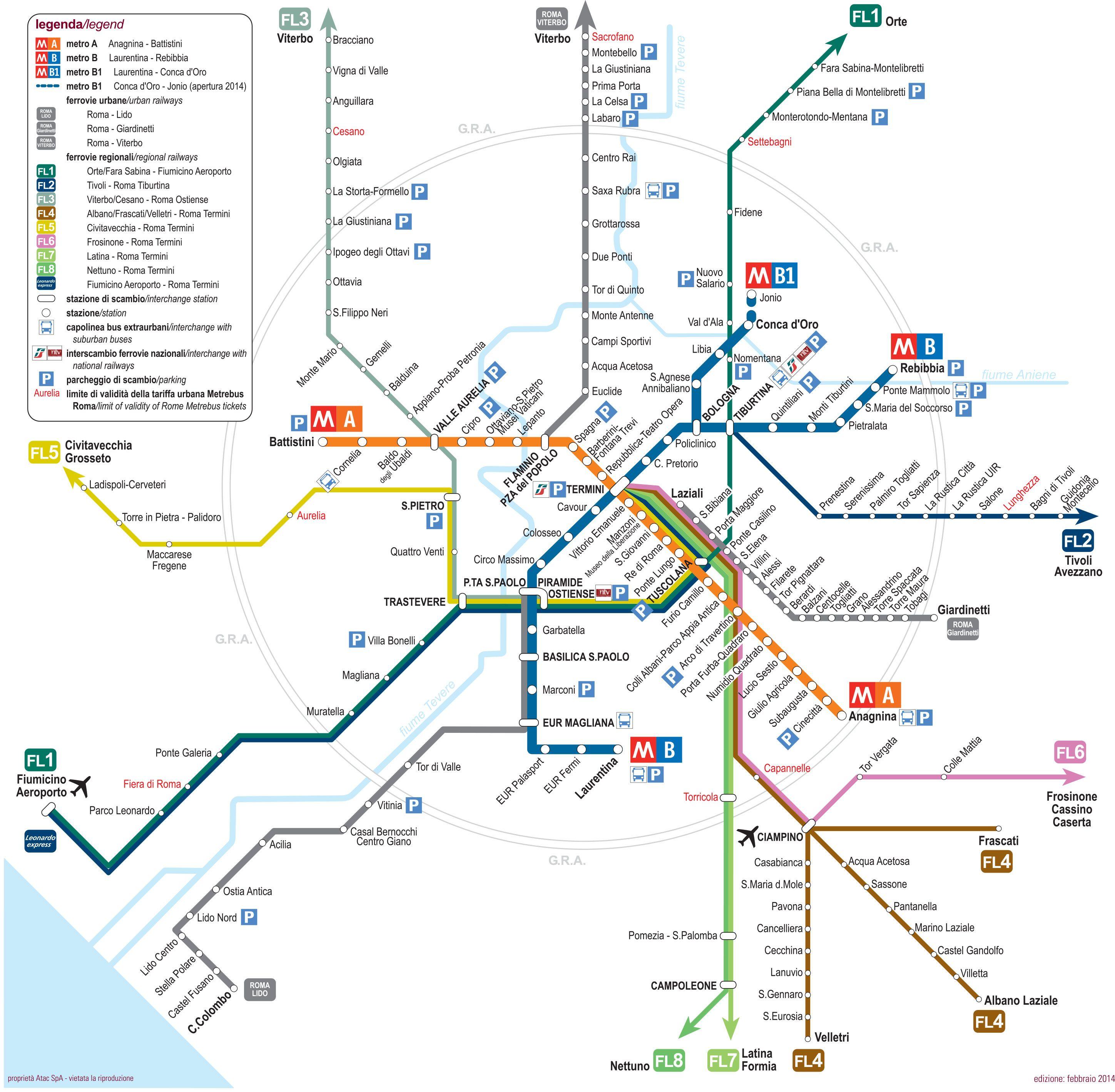 Map Of Rome Train Urban Commuter Suburban Railway Network Http - Sweden tunnelbana map