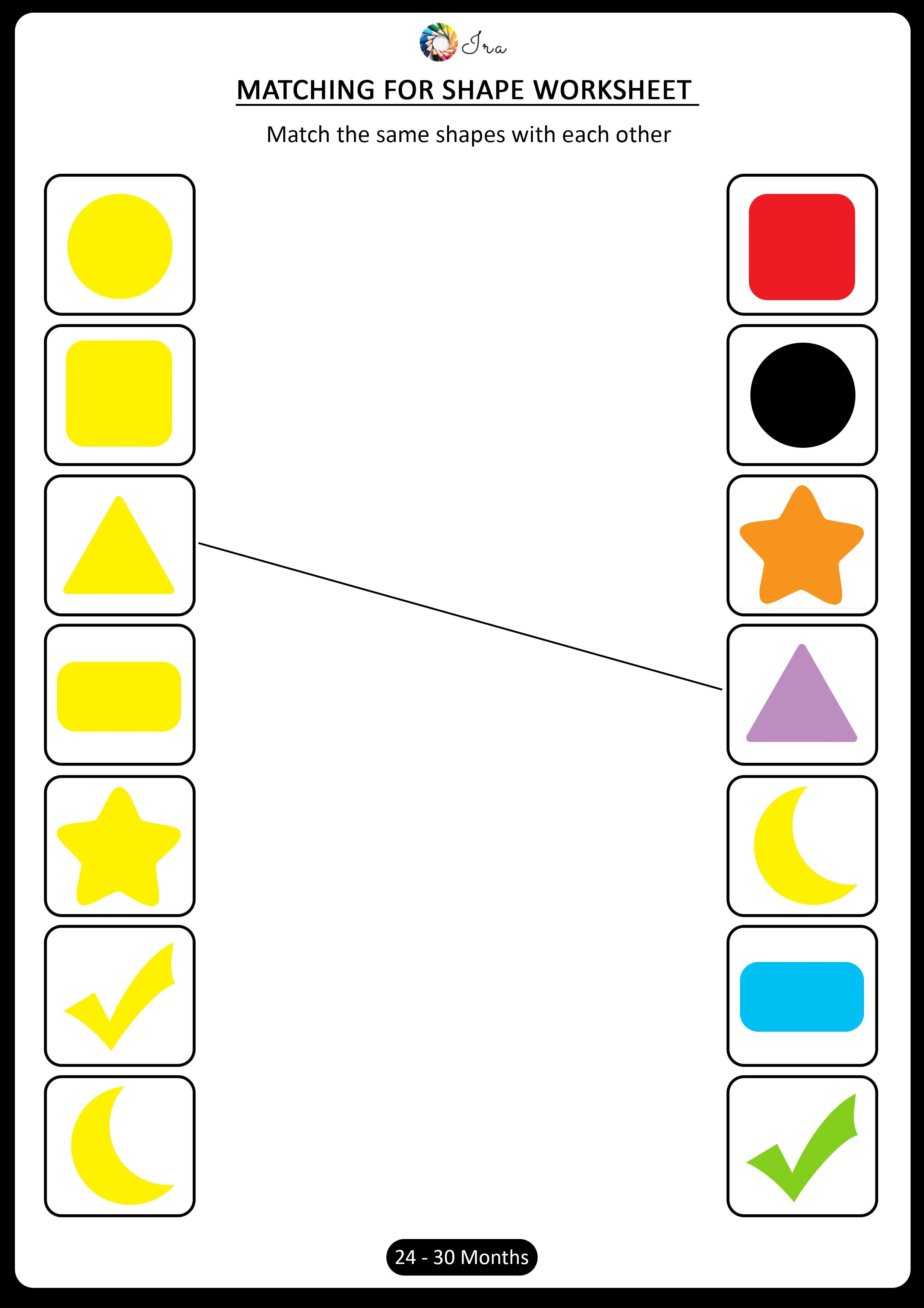Download Free Matching Shapes Worksheets For 24 30 Months