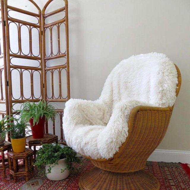 Vintage Wicker Swivel Rocker Egg Chair Vintage Mid