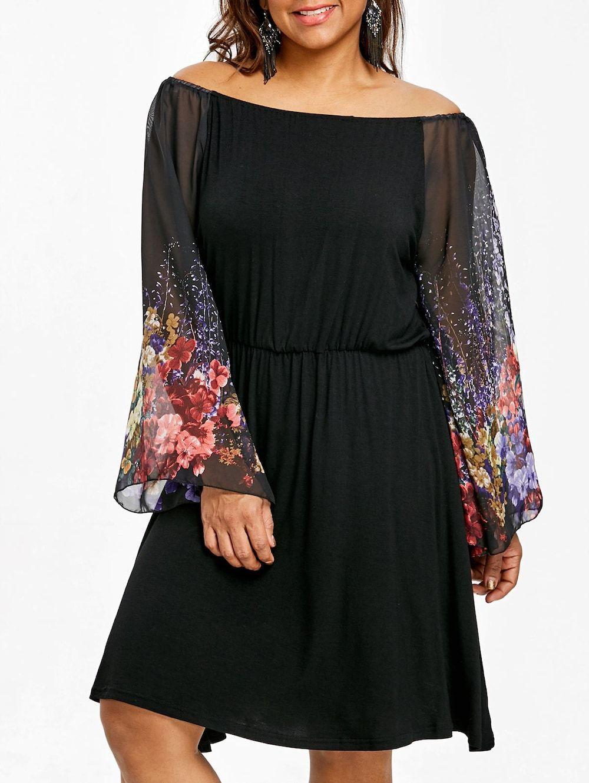 Plus Size Raglan Sleeve Floral Dress Long sleeve chiffon